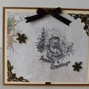 Karácsonyi üdvözletek - egyedi, kézműves karácsonyi képeslap, Naptár, képeslap, album, Otthon, lakberendezés, Ajándékkísérő, Gyönyörű, letisztult, elegáns kézműves karácsonyi képeslapot készítettem scrapbook  technikával, mel..., Meska