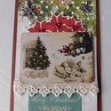 Karácsonykor - egyedi, kézműves karácsonyi képeslap, Naptár, képeslap, album, Otthon, lakberendezés, Ajándékkísérő, Nagyon különleges, kézműves karácsonyi képeslapot készítettem scrapbook  technikával, melyben az ünn..., Meska