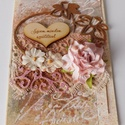 Szívem minden szeretetével - egyedi, kézműves mixed media képeslap, Naptár, képeslap, album, Egyedi képeslapot készítettem mixed media technikával. A képeslapban átnyújthatod jókívánságaidat  s..., Meska