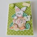 Nyuszi, hopp...! - egyedi, kézműves húsvéti képeslap, Nagyon aranyos, egyedi, kézműves húsvéti képe...
