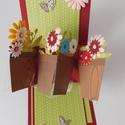 Cserepes virágok - egyedi, kézműves twist képeslap anyák napjára, születésnapra, nőnapra, Naptár, képeslap, album, Otthon, lakberendezés, Gyönyörű, nagyon különleges képeslapot készítettem, melyben szépséges cserepes virágokat helyeztem e..., Meska
