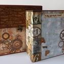 Örökre Veled, szeretlek! - születésnapi steampunk scrapbook táska album, Férfiaknak, Naptár, képeslap, album, Steampunk ajándékok, Fotóalbum, Legújabb albumom mind külső, mind belső megjelenésében lélegzetelállító. Steampunk világ, utazás, sz..., Meska