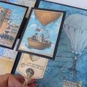 Utazó - egyedi, kézműves steampunk scrapbook album, Férfiaknak, Naptár, képeslap, album, Steampunk ajándékok, Fotóalbum, Egy 14 éves fiúnak készítettem ezt az utazási  scrapbook albumot kicsit Vernét idézve. Hőlégballmok,..., Meska