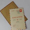 Különleges, egyedi vintage airmail esküvői meghívó borítékkal, Esküvő, Naptár, képeslap, album, Meghívó, ültetőkártya, köszönőajándék, Egyedi vintage airmail esküvői meghívó hozzá illő borítékkal kiiváló minőségű vanília színű kartonra..., Meska