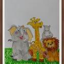 Állatos babaszoba falidísz, falikép, kreatív babaszoba dekoráció, gyerekszoba dekoráció, állatok, Naptár, képeslap, album, Képzőművészet, Baba-mama-gyerek, Festmény, A4 méretű akvarell  baba-, gyerekszoba falikép, dekoráció. Nem nyomtatott változat, hanem kézzel fes..., Meska
