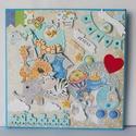 Egyedi kézműves babakép, babaszoba dekoráció születési adatokkal, Baba-mama-gyerek, Naptár, képeslap, album, Gyerekszoba, Baba falikép, Egyedi, kézműves scrapbook fali babakép, melyen elhelyezem a baba születési adatait, nevét, súlyát, ..., Meska