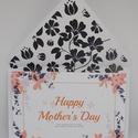Amerikai stílusú, modern, virág mintás anyák napi képeslap, Baba-mama-gyerek, Naptár, képeslap, album, Képeslap, levélpapír, Amerikai stílusú, modern, virág mintás képeslap anyák napjára minőségi kartonra nyomtatva, bélelt bo..., Meska