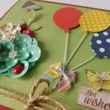 Egyedi, kézműves scrapbook születésnapi képeslap lufikkal és virágokkal, szülinapi, virágos, Naptár, képeslap, album, Ajándékkísérő, Képeslap, levélpapír, Vidám, színes születésnapi képeslap 3D virágokkal és lufikkal 300 grammos bordó kartonra nyomtatva. ..., Meska