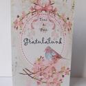 Cherry Blossom - egyedi, modern, amerikai stílusú képeslap esküvőre, születésnapra, virágos, madaras, pink, Naptár, képeslap, album, Esküvő, Ajándékkísérő, Képeslap, levélpapír, Nagyon szép, virágos képeslap,  kiváló minőségű 250 grammos kartonra nyomtatva. Kinyitható, belsejéb..., Meska