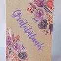 Mixed Media kraft - egyedi képeslap esküvőre, születésnapra, virágos, natúr, kraft, Naptár, képeslap, album, Esküvő, Ajándékkísérő, Képeslap, levélpapír, Nagyon szép, virágos natúr képeslap,  kiváló minőségű 250 grammos kartonra nyomtatva. Kinyitható, be..., Meska