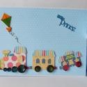 Fut a vonat - nagyméretű, kézműves baba fotóalbum és napló, kék, vonatos, baba, , Baba-mama-gyerek, Naptár, képeslap, album, Gyerekszoba, Fotóalbum, Nagyon aranyos babanapló- és fotóalbumot készítettem. Az album fekvő A4 méretű, melynek külső kemény..., Meska