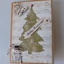 Egyedi, kézműves karácsonyi képeslap pillangóval, Naptár, képeslap, album, Ajándékkísérő, Képeslap, levélpapír, Egyedi, különleges, kézműves képeslapot  készítettem karácsonyra, melyben az ünnephez méltóan adhato..., Meska