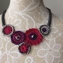 Bordó textilékszer, Ékszer, Nyaklánc, 100% pamutból készült fémmentes nyakdísz, Meska