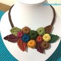 Bogyós termés, Ékszer, Nyaklánc, Pamutfonalból készült textilékszer kompozíció , Meska