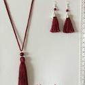 Bojtos  textilékszer 1., Ékszer, Nyaklánc, Fülbevaló, Selyembojtos szett .A nyaklánc hossza 46 cm, Meska
