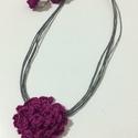 Borzas virág, Ékszer, Fülbevaló, Nyaklánc, Aprólékos mintával készült textilékszer, Meska