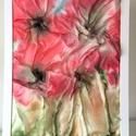 Selyem pipacs , Dekoráció, Kép, 0,5 -ös Ponge hernyóselyemre festettem eme 3D képet. Passpartouzva van 40x30-as, Meska
