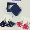 Tűpettyes textilfülbevaló , Ékszer, Fülbevaló, Selyemszalagos vidám fülbevalók kék és pink színben, Meska