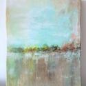 Absztrakt tájkép, Képzőművészet, Festmény, Akril, 30x 24 cm-es akril festmény fa keretre feszített vásznon., Meska