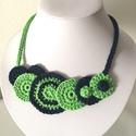 Kék és zöld, Ékszer, Nyaklánc, Textilékszer 100% pamut, fémmentes 45 cm, Meska