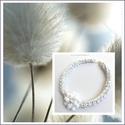 ezüstös fehér, Ékszer, Nyaklánc, fémmentes textilékszer 50 cm, Meska