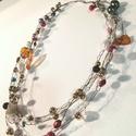 Gyöngyárny, Ékszer, Nyaklánc, Horgolt drótékszer színes gyöngyökkel Hossza:60 cm, Meska
