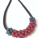 Piros és kék, Ékszer, Nyaklánc, Hurkoltpamut nyakrészre aplikált gyöngygolyók. 50 cm, Meska
