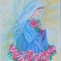 Madonna, Képzőművészet, Festmény, Akril, Akril festmény 30x20 cm, Meska
