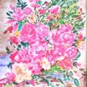 Csendélet, Képzőművészet, Festmény, Akril, akril 30x20 rózsacsendélet, Meska