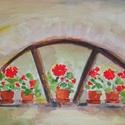 Muskátlis ablak, Képzőművészet, Festmény, Akvarell, 15x12 cm akvarell, Meska