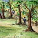 Kirándulók, Képzőművészet, Festmény, Akril, 20x15 cm akril , Meska