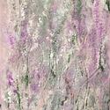 Virágok közt, Képzőművészet, Festmény, Akril, Festészet, 30,5x23 cm akril festmény ezüst, rózsaszín, lila strukturált felülettel., Meska