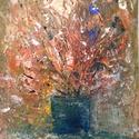 Absztrakt csendélet, Képzőművészet, Festmény, Akril, Akril festmény 30,5x23 cm  struktúrpasztával. , Meska