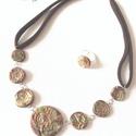 Macchiato, Ékszer, Gyűrű, Nyaklánc, Ékszergyurma nyaklánc, pamut nyakrésszel. Gyűrű is készült hozzá., Meska