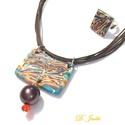 narancsos csoki, Ékszer, Nyaklánc, Gyűrű, Ékszergyurma nyaklánc négyzet alakú gyűrűvel., Meska