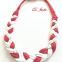Piros-fehér textilékszer, Ékszer, Nyaklánc, Fémmentes pamut textilékszer állítható hosszal., Meska