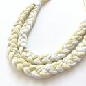 Halványsárga fehérrel, Ékszer, Nyaklánc, Fémmentes pamut textilékszer, 70 cm, Meska