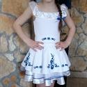 Kék CSÁRDÁS - őrizve a hagyományokat 134-140 méretben, Ruha, divat, cipő, Gyerekruha, Gyerek (4-10 év), Hímzés, Varrás, Hagyomány modern köntösben. A kézi hímzéssel készült magyar motívumok nemcsak a ruhán, de az öv rés..., Meska