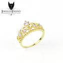 Swarovski köves eljegyzési gyűrű ezüstből /korona/, Ékszer, Esküvő, Gyűrű, Esküvői ékszer, Egyedi swarovski köves gyűrű ezüstből.  -56-os méretben -kövek színe fehér -aranyozva  A gy..., Meska