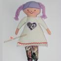 Lilla baba, Otthon, lakberendezés, Játék, Lakástextil, Párna, Lilla hajáról kapta nevét, fehér kordbársony ruhája van. Haja részben textil, részben fonal...., Meska