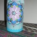 Mandalás selyemlámpa, Dekoráció, Selyemfestés, Mandalával díszített selyemlámpa.  A lámpa 22 cm magas. Üveg alapú. Megfestett selymet ragasztottam..., Meska