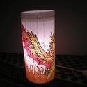 Sárkány selyemlámpa, Dekoráció, Selyemfestés, Sárkánnyal díszített selyemlámpa.  A lámpa 22 cm magas. Üveg alapú. Megfestett selymet ragasztottam..., Meska