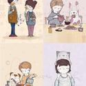 Kis állatainkal (képeslap csomag), Baba-mama-gyerek, Dekoráció, Naptár, képeslap, album, Képzőművészet, Festészet, Fotó, grafika, rajz, illusztráció, Egy csomag tartalma:  - 4 db A6-os méretű vastag művészpapírra készült nyomat, melyek a rajzaimből ..., Meska