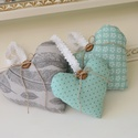 Szív dekoráció skandináv stílus 3db, Dekoráció, Dísz, Varrás, Skandináv stílusú szív dekoráció, 3 darab két különböző méretben. A szivek pamutvászonból készülnek..., Meska
