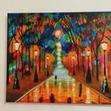 Séta a parkban akril festmény, Képzőművészet, Otthon, lakberendezés, Festmény, Akril, Festészet, Séta a parkban (Afremov után).  Az alkotás egy 46x38 cm-es feszített vászonra festett akril festmén..., Meska