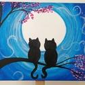Cicák a holdfényben akril festmény, Képzőművészet, Otthon, lakberendezés, Festmény, Akril, Festészet, Ez a kettő édes kis fekete cica ül a fán, és nézi a teliholdat.  Az alkotás egy 41x27 cm-es feszíte..., Meska