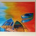 Csónakok - akril festmény, Képzőművészet, Otthon, lakberendezés, Festmény, Akril, Festészet, Az alkotás egy 46 x 38 cm-es feszített vászonra festett akril festmény.  Az oldalai is festettek, í..., Meska