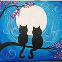 Fán ülő macskák - akril festmény, Képzőművészet, Otthon, lakberendezés, Festmény, Akril, Festészet, Az alkotás egy 50 x 40 cm-es feszített vászonra festett akril festmény.  Az oldalai is festettek, í..., Meska