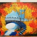 Őszi erdő - akril festmény, Képzőművészet, Otthon, lakberendezés, Festmény, Akril, Festészet, Az alkotás egy 50 x 40 cm-es feszített vászonra festett akril festmény.  Az oldalai is festettek, í..., Meska