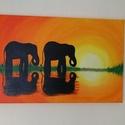 Kis elefántok  - akril festmény, Képzőművészet, Otthon, lakberendezés, Festmény, Akril, Festészet, Az alkotás egy 41 x 27 cm-es feszített vászonra festett akril festmény.  Az oldalai is festettek, í..., Meska